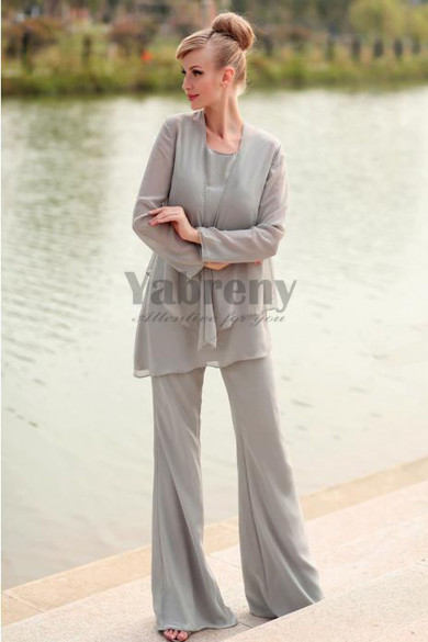 Elegant gray Chiffon 3 Piece mother of the bride dresses pant suits mps-142