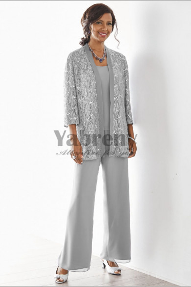 Elegant Gray Mother of the bride pant suits Elastic waist pants 3 piece Lace outfit mps-181