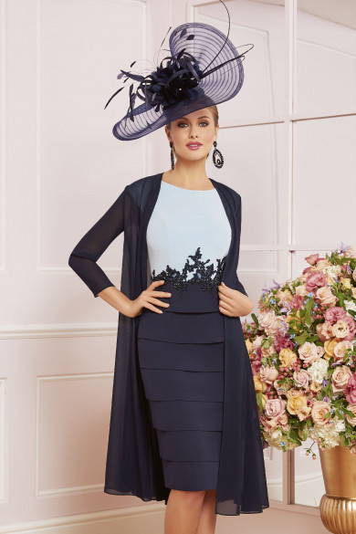 Elegant Knee-length Mother of the bride dress With Chiffon Jacket Navy blue mps-382