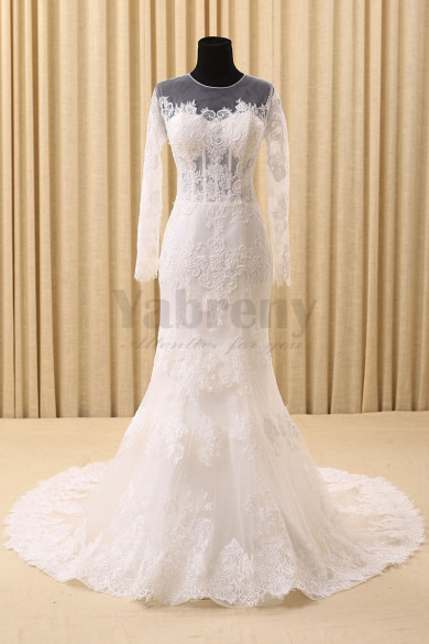 Elegant Sheath Long Sleeves Tailed Wedding Dresses With  Appliques
