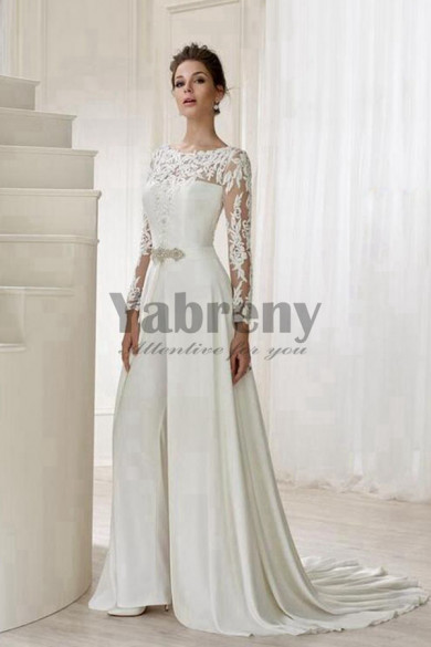 Elegant Spring Wedding pants dress Bridal Jumpsuit with detachable train so-083