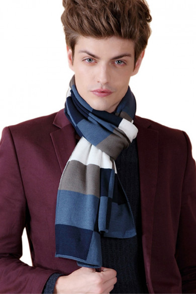 Fashion British Wind Acrylic Plaid Scarfs for Men Dark Navy Gray Blue and White