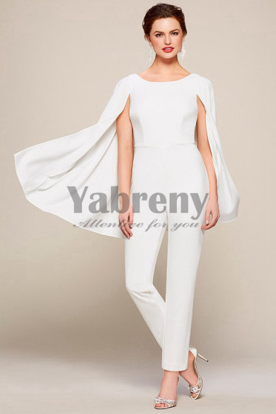 Fashion Chiffon Bridal Jumpsuits With Cape so-117
