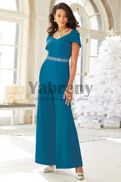 Fashion Ocean Blue Mother of the bride pant suit Jumpsuit with crystal mps-085