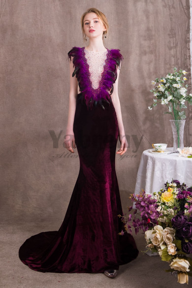 Charming Purple Prom dresses With Feathers Velvet Women wear for Special occasions so-004
