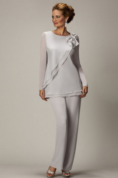 Gray Chiffon mother of the bride pants suits,mother of the groom pants suits mps-074