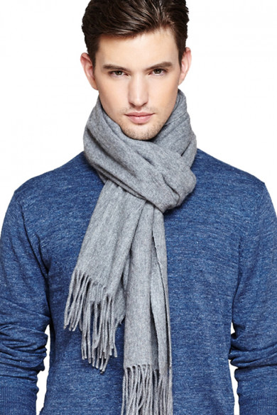 Gray Fashion Pure Color Wool Scarfs for Autumn and Winter