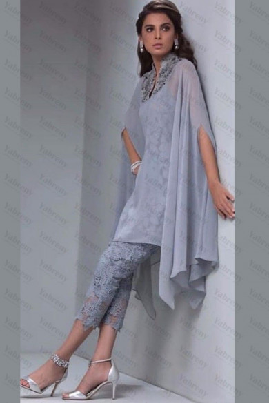 Gray Lace Mother of the bride pant suits with Overlay Mid-Calf mps-174