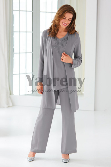 Gray Mother of the bride pantsuits Beaded Chiffon Trouser outfit Classic mps-099