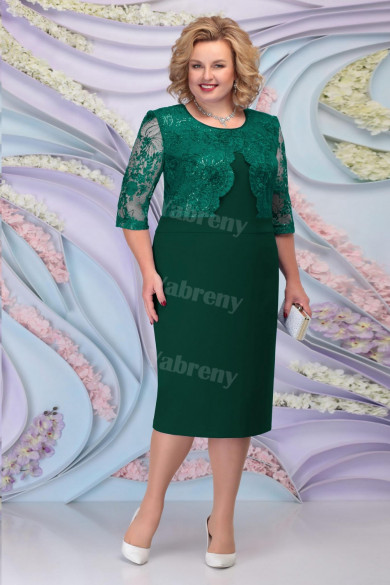 Green Lace Mother of the Groom Dresses Plus Size Half Sleeves Women