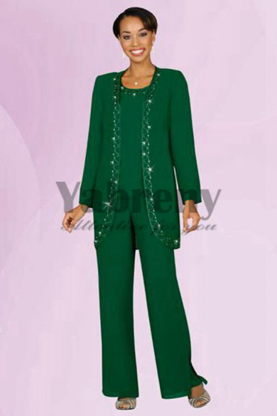 Green Three piece mother of the bride pants suit with jacket-mps-203