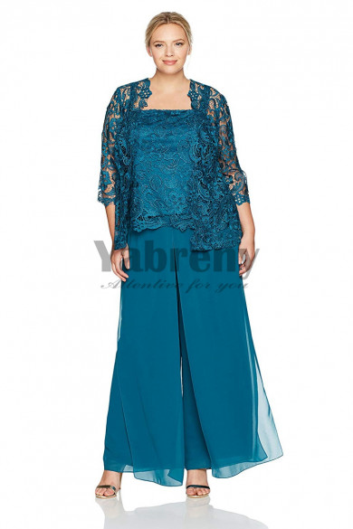 Greenblack Hunter lace Mother of the bride pant suits larger size Mother of the groom outfit mps-135