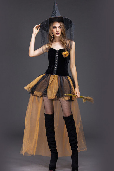 Halloween Horror witch role play dress adult woman yellow gauze short skirt party witch cosplay costume free shipping