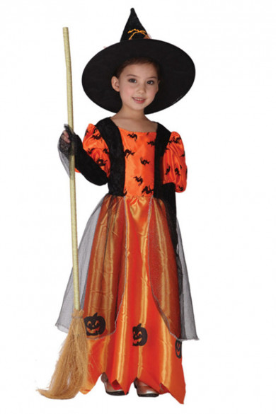 Halloween Witch Costumes Children Sorceress Cosplay Kids Pumpkin skirt Masquerade dress free shipping