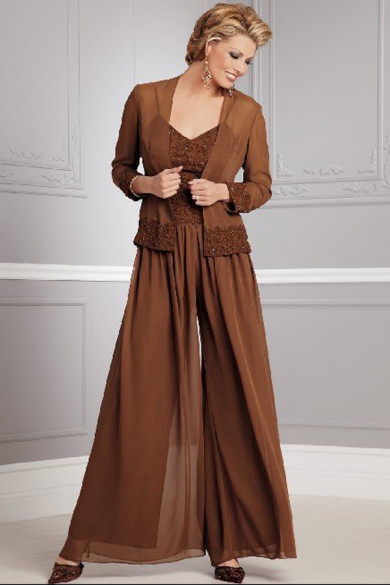 khaki Elegant two Piece mother of the bride dress jumpsuit with coat mps-151