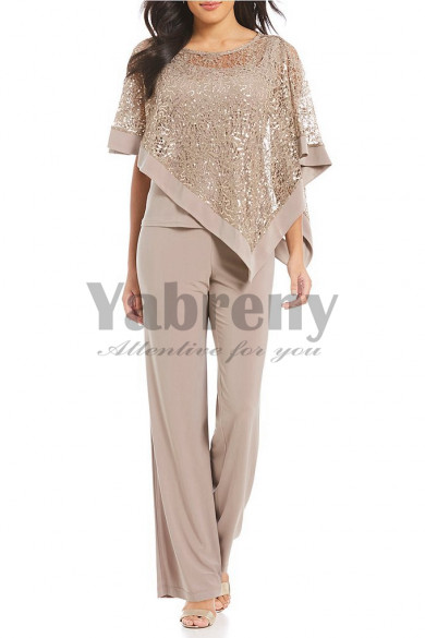 khaki Overlay Top Trousers set Mother special occasion wear mps-122