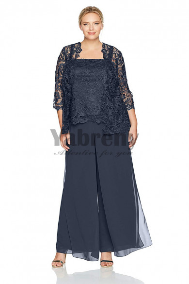 larger size Charcoal Mother of the groom pant suits Mother of the bride outfit mps-138
