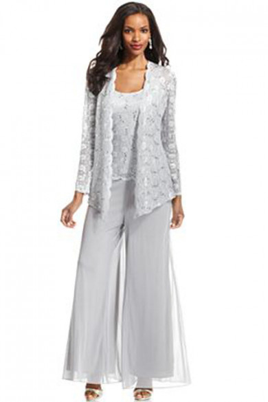 Light Gray 3pc mother of the bride pants suits with lace jacket mps-071