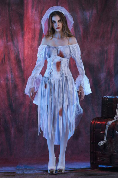 Mengjie Holloween Costumes Horror Role-Playing Ghost Bride Female Zombie Game Uniform Costume
