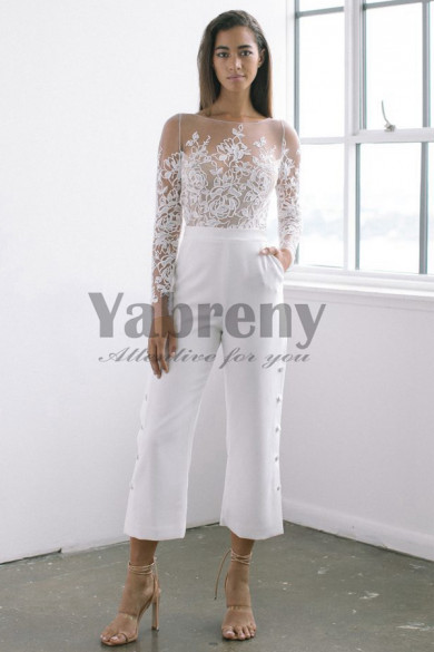 Modern Bridal Elastic Chiffon Jumpsuit Lace top Wedding dresses so-122