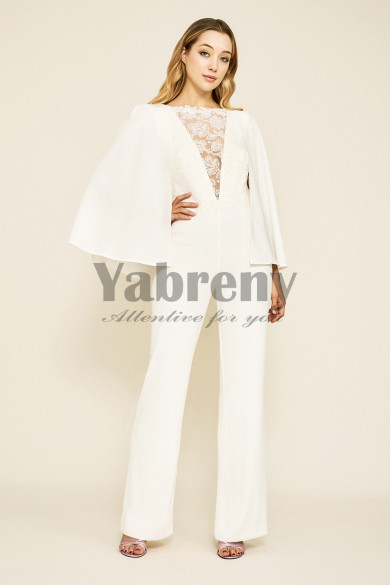 Modern Bridal Jumpsuits Wedding Cape Gown so-126