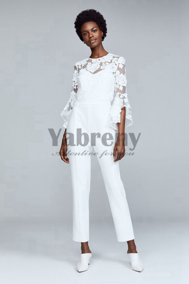 Modern Bridal Jumpsuits with Trumpet Sleeves so-077