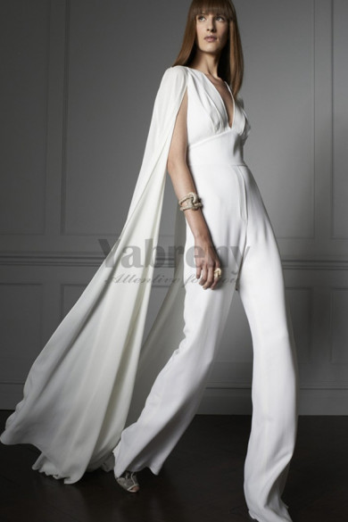 Modern bridal  white chiffon jumpsuit Wedding dress with cape so-104