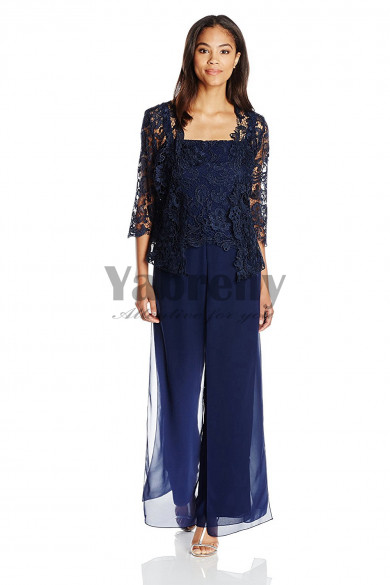Modern Dark navy Venice lace Mother of the bride pants suits dresses mps-050