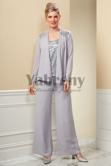 Modern Gray Mother of the bride pantsuit Silver Sequins Tunic Chiffon Trouser mps-096