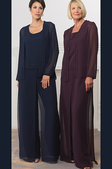 Modern scoop Loose Chiffon Three Piece mother of the bride dress pants sets mps-213