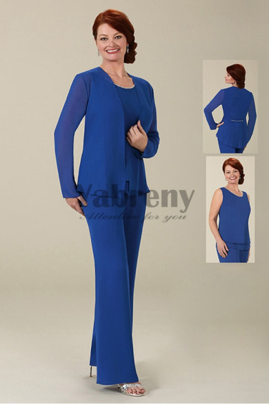 Mother of the bride pant suits 3PC Royal blue chiffon trousers set with jacket mps-062