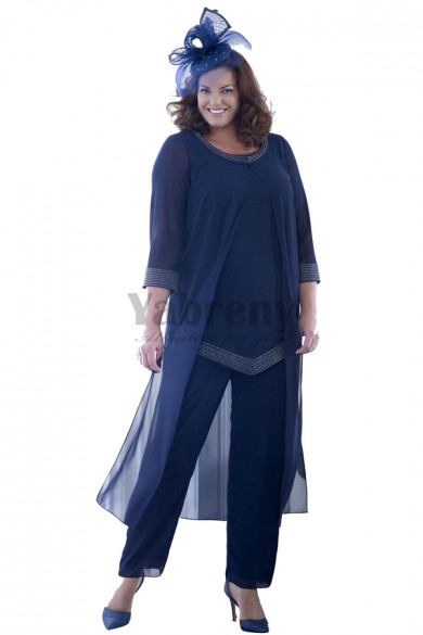 New Arrival Dark Navy Beaded mother of the bride pants suits with long Coat mps-040
