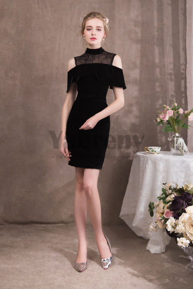 2020 Fashion Knee-Length Sheath Black Velvet Prom dresses so-049