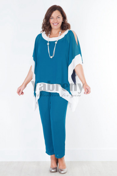 New arrival Loose Ocean Blue Mother of the bridal outfit pant suits mps-041