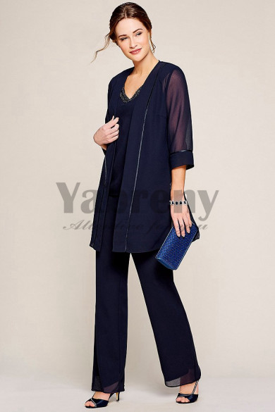 New arrival V-Neck Elastic waist Mother of the bride pants suits dresses mps-115
