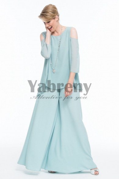 New style Mother of the bride pant suit dress  Aqua Chiffon Trouser outfits mps-090