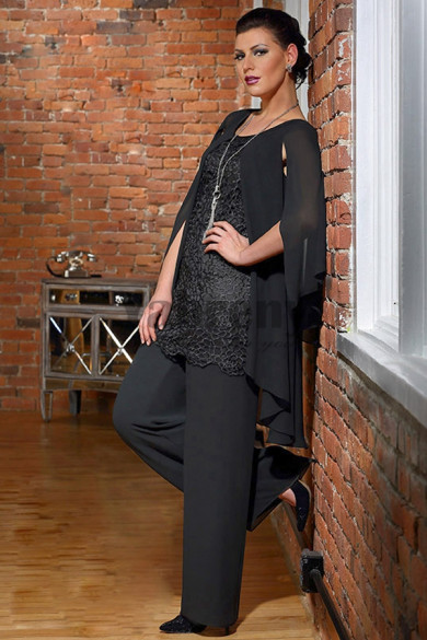 New style Mother of the bride pant suits Fashion Black trousers suit mps-067