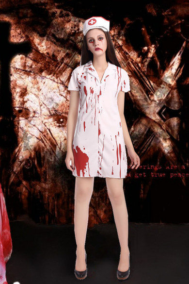 Nurse costumes role-play female Halloween Zombie costumes free shippping