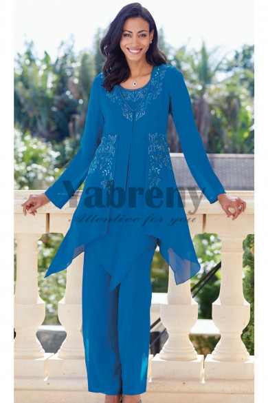 Ocean Blue Chiffon Mother of the bride pantsuit Elastic waist 3-pc Trouser outfit mps-091
