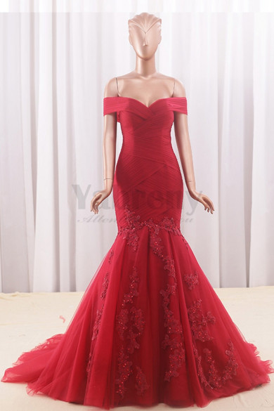 Burgundy Off-the-shoulder Mermaid Tailed Wedding dresses With Appliques wd-021