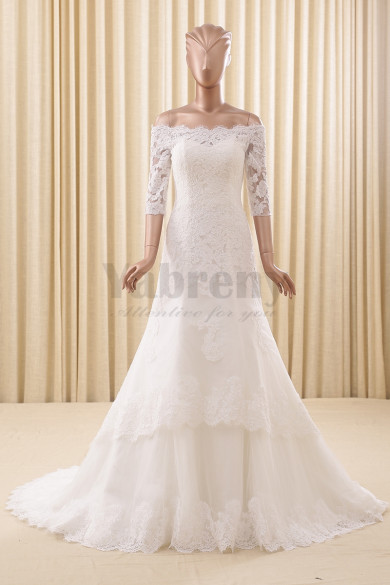 Off the Shoulder Elegant Ivory Bateau Lace Wedding dresses