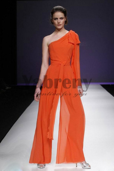 Orange One Shoulder Jumpsuits pants sets prom dress so-069