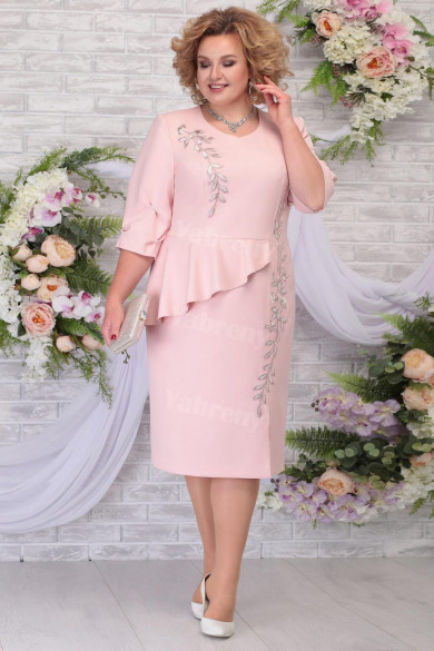 Pink Chiffon Mid-Calf Mother of the Groom Dresses Plus Size Women