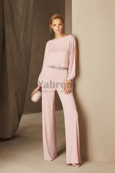 Pink cocktail jumpsuits dresses with Long Sleeves Beaded Belt so-177