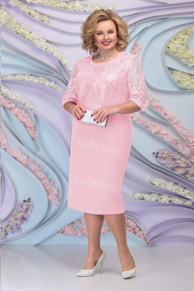 Pink Lace Mother of the Groom Dresses Plus Size Half Sleeves Women