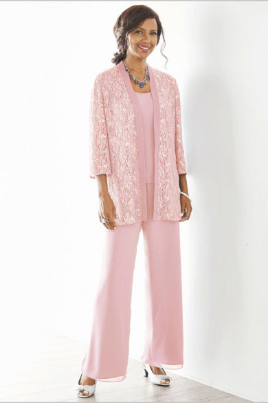 Pink Mother of the bride pant suits Elastic waist Plus size Trousers suit mps-187