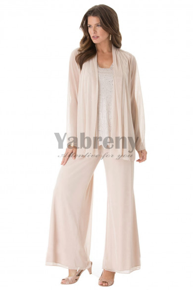 Plus size Beautiful beaded chiffon mother of the bride pant suits Wedding outfit mps-143