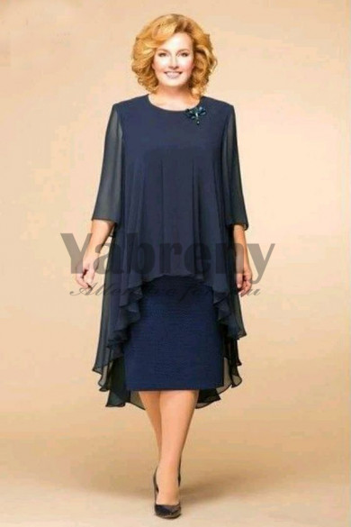 Plus Size Dark Navy Modern Mother Of The Dresses mps-108