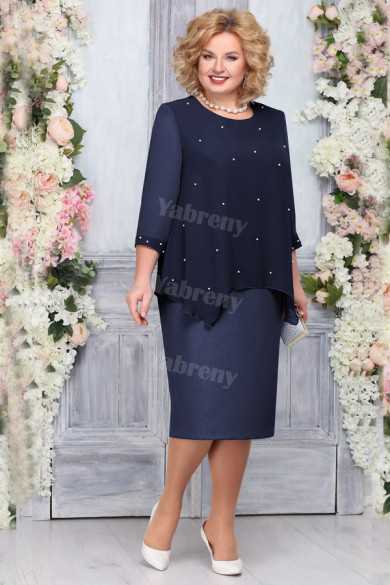 Plus Size Dark Navy Mother of the bride Dresses Elegant Mid-Calf Outfit mps-453-3