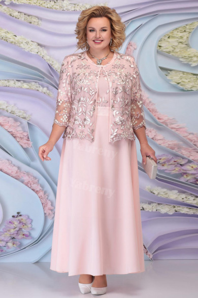 Plus Size Pink Mother Of The Bride Dresses With Jacket Women
